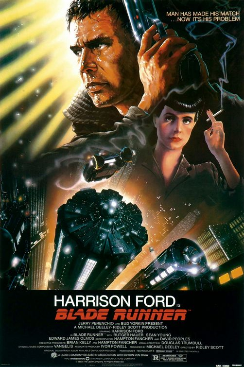 I know it's nothing like the film, but my head gets the image of Harrison Ford shooting thousands of robots, as he runs across giant knives, from seeing this poster.